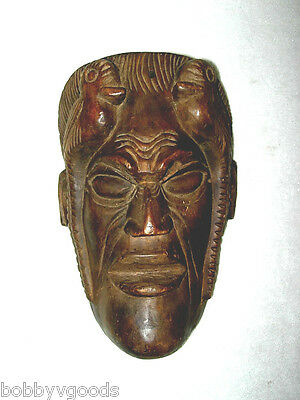 Vintage Mayan Chichicastenango Guatemala Hand Carved Devil Ceremonial Wood Mask