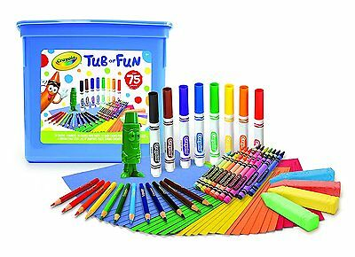 Crayola Tub of Fun Over 75 Crayons Markers Coloured Pencils Paper Chalk Gift Box