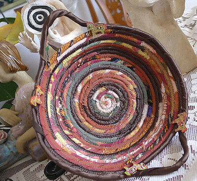 Bread Basket Home Decor Handmade Coiled Rope  Quilted Fabric Browns+Handels Gift