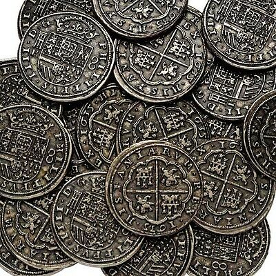 Silver Effect Pieces Of Eight / Pirates Treasure / Buy 5 Get 1 Free