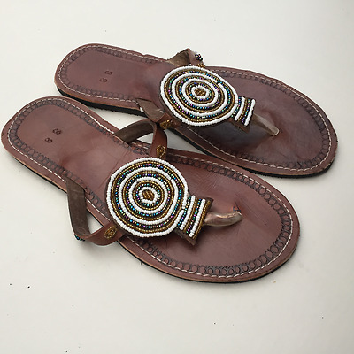 New African Kenyan Leather Tribal Masai Bead Flip-Flop Sandals Shoes size 5 / 38