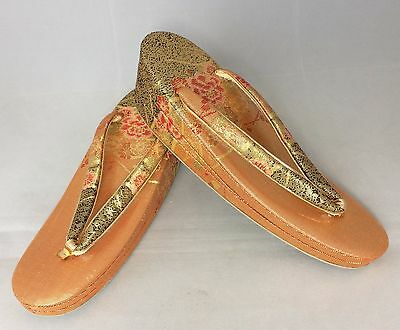 Authentic Japanese orange zori Geisha sandals, 23cm, UK size 4, poor c.(B1395)