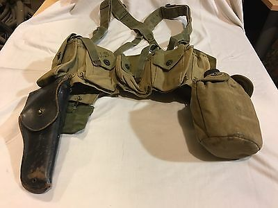 Wwii D.a. Shoe 1942 Bar Belt, M1936 Suspenders, M1911 Holster,canteen, First Aid