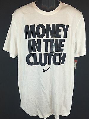 a411adffc04 NEW The Nike Tee Money In The Clutch Men's T Shirt Athletic Cut White Black  L