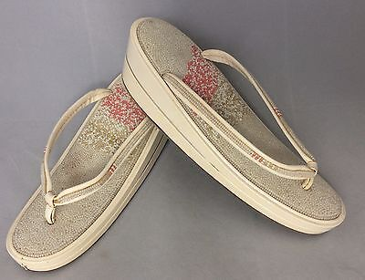 Authentic Japanese white zori geisha sandals with beads, 23cm, UK size 4 (B1396)