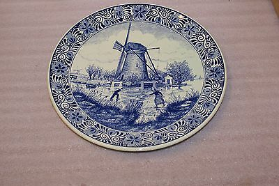 Delfts Blauw Chemkefa Holland Charger 11 1/2in Plate Windmill Skating