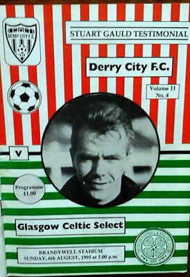 Derry City V Celtic 6/8/95 Gauld Testimonial Fully Autographed By Derry