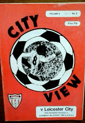 Derry City V Leicester 9/8/1987 Friendly Multi Autographed By Leicester X 8