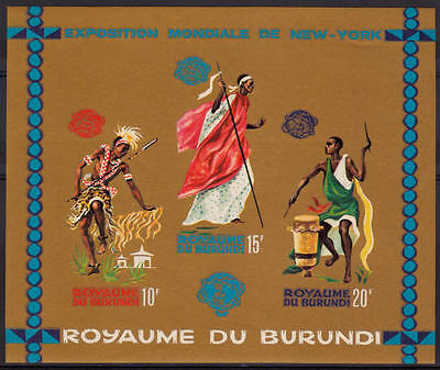 XG-A204 BURUNDI - Costumes, 1965 New York Expo Golden Imperf. MNH Sheet