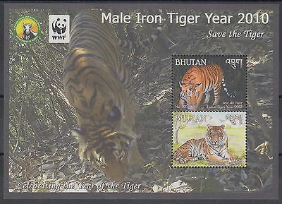 XG-BA948 BHUTAN - Wwf, 2010 Wild Animals, Iron Tiger Year MNH Sheet