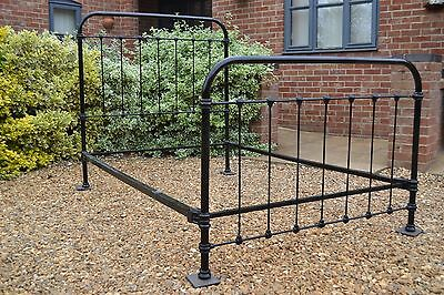 Old Antique French Small Double Iron bed frame, restored a few years back