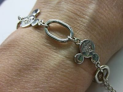 Mickey Mouse 925 Sterling Silver Bracelet With Mickey Mouse Links