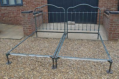 Pair Footless Old French Large single / Small double Iron bed frames restoration