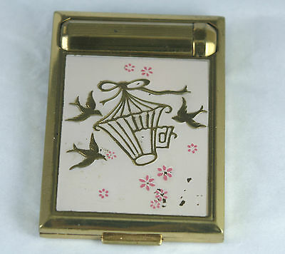 Vintage Richard Hudnut Triple Compact Powder Rouge Lipstick Pink Enamel Birds