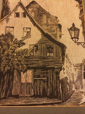 Tapestry textile Art  Vintage Fabric Embroidery houses city scene buildings