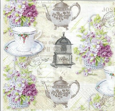 4 Single paper decoupage napkins 968 Afternoon tea coffee flowers cake