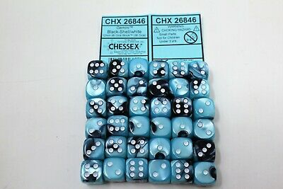 Chessex Black Shell with White 36 Gemini 12mm Pipped Dice CHX 26846