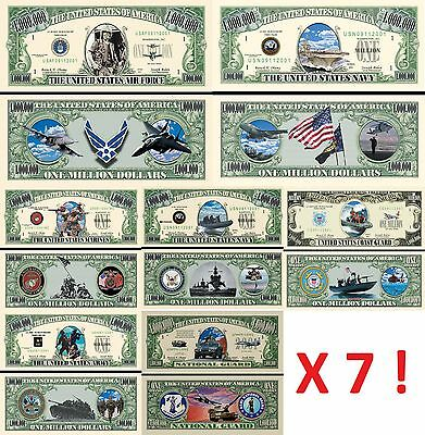 LOT x7 BILLETS DOLLAR - CORPS ARMEE AMERICAIN ! MARINES NAVY US AIR FORCE Guerre