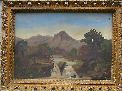 Antique Primitive Folk Art Landscape Painting in Original Frame