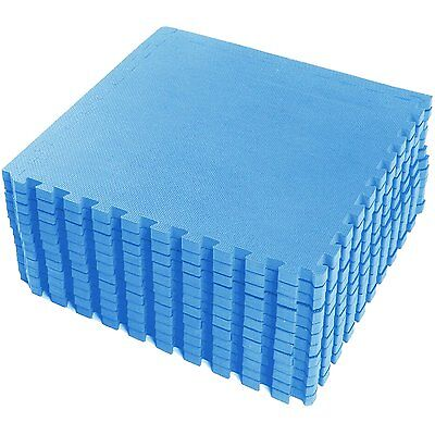 Blue Large Eva Interlocking Soft Foam Exercise Floor Mats Kids Play Garage Gym