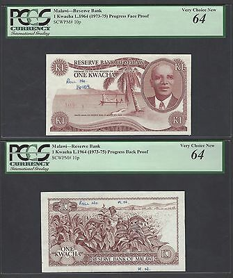 Malawi Obverse & Reverse One Kwacha L.1964(1973-75) P10p Die Proofs UNC