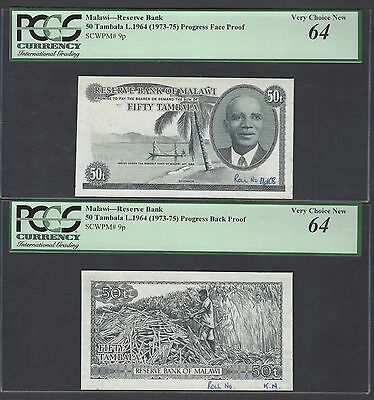 Malawi Obverse & Reverse 5 Tambal L.1964(1973-75) P9p Die Proofs Uncirculated