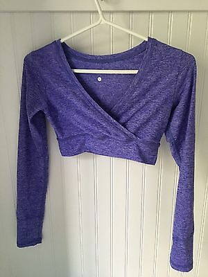 Ivivva Triple Flip Ballet Dance Purple Long Sleeves Crop Shrug Top Size 10-12