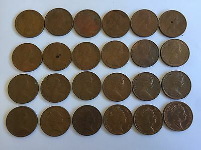 1c Australian Set All Years Except 1986 - 24 Coins - Circulated - FAST POSTAGE
