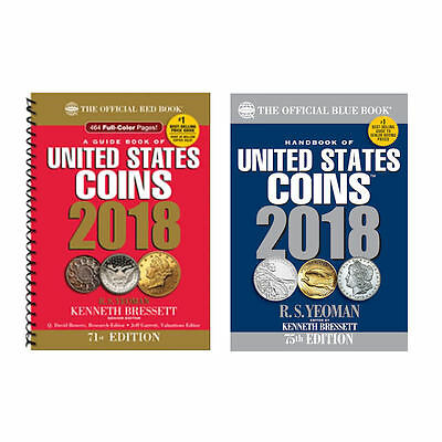 2018 Red Book, Spiral Price Guide and 2018 Blue Book, Handbook of U.S. Coins