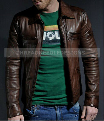 Men's Genuine Lambskin Brown Leather Motorcycle Jacket Slim Fit Biker Jacket