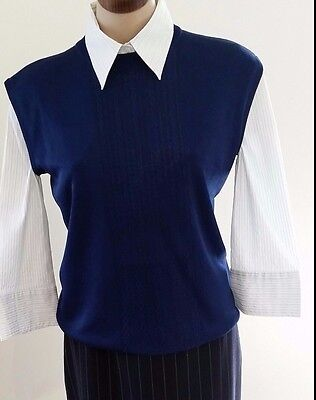 Vintage 1960s Chavasol France Wines Sydney DARK BLUE Sleeveless Knit Vest size L
