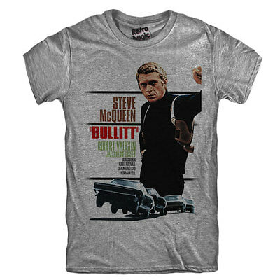 BULLITT T-shirt  Steve McQueen movie 1968 vintage poster