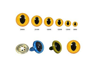 Animal Cat Eyes with Black Centers & Metal Washers for Soft Toys Animal Doll