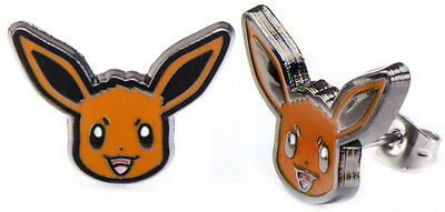 Pokemon Earrings Eevee Head Enamel Pair  - BRAND NEW