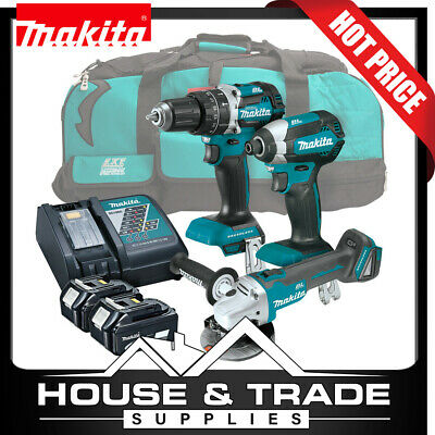 Makita Brushless Tool Combo Kit 3 Piece Cordless + 2x 5.0Ah Batteries & Charger
