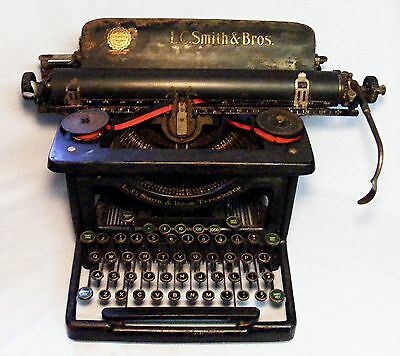 "Antique ""l.c. Smith & Bros. Typewriter"" Black-Secretarial 1920's 30's Era"