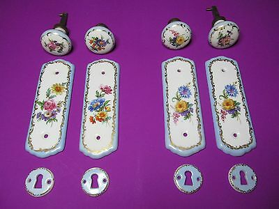 Vintage Ceramic Door Knobs With Finger Plates And Keyhole Plates (2 Sets)