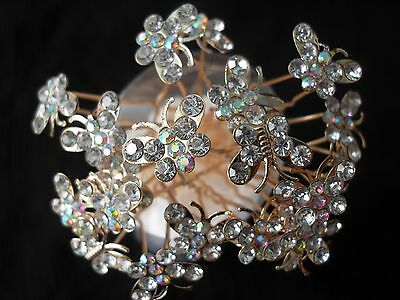 10pcs crystal butterfly gold bridal hair pins hair accessories wedding