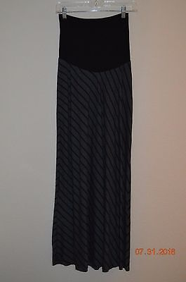 Motherhood Maternity Size Small Gray With Black Stripes Maxi Skirt