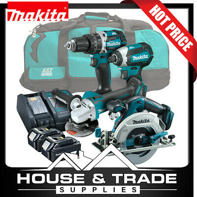 Makita Brushless Tool Combo Kit 4 Piece Cordless + 2x 4.0Ah Batteries & Charger