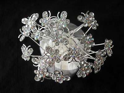 10pcs crystal butterfly silver bridal hair pins hair accessories wedding party