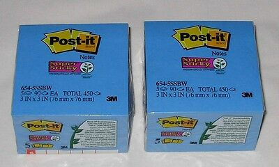 """2 New Packs Post-it SUPER STICKY Notes Blue 10 Pads Total 900 Sheets 3"""" x 3"""""""