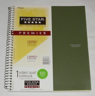 "New Mead 4 Quadrille Graph Paper Spiral Notebook 8 1/2"" x 11"" Green 100 Sheets"