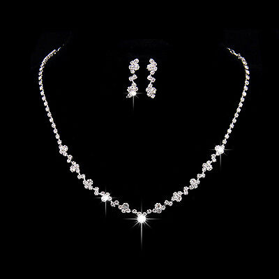 Rhinestone stunning silver plated crystal bridal necklace earrings jewelry set B