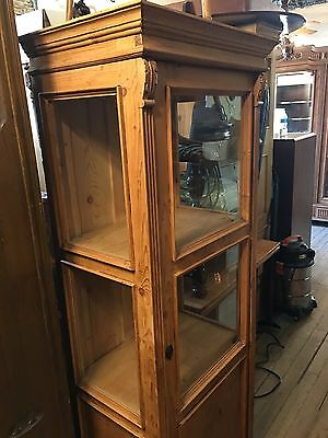 English Pine Single Door Glass Display Cabinet Curio Nice