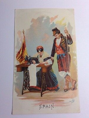 Victorian Trade Card Singer Sewing Machine Manufacturing Co Spain #4