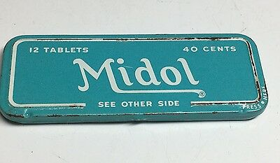 Vintage Midol Pill Tin Container  Medical Advertising