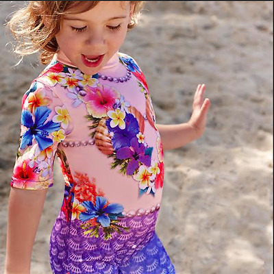 Girls Mermaid Rash Swim Suit. Chlorine Resistant and SPF50+ SIZES 1,2,3,4,5,6