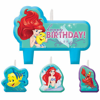 Ariel The Little Mermaid Birthday Party Supplies Mini Cake Candles Set Of 4
