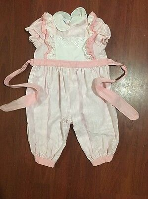 Vintage Toddle Tyke 9m pink striped jumper jumpsuit embroidered collar dainty